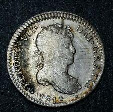 1818 ☆J.P. Peru 1 Real ☆ Ferdin VII Colonial Bust Pillar ☆ Lima Silver Coin