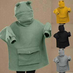 Cute Frog Kawaii Hoodie Sweatshirt Long Sleeve Harajuku Green Funny Head Ulzzang