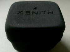 Zenith black fabric watch storage/travel box. Side zip, cushion inside.