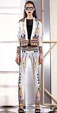 JUST CAVALLI ivory white miami palm tree printed collarless blazer jacket 40 NEW