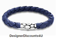 JOHN HARDY KALI BLUE WOVEN LEATHER BRACELET SILVER CLASP Men's BM2391BUXM M