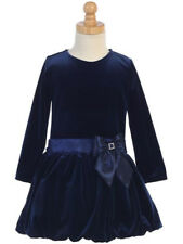 Girls Navy Blue Velvet Dress Size 5 Wedding Holidays Christmas Party Graduation