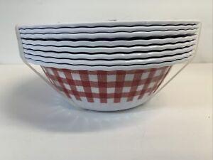 Tommy Bahama Red Gingham Checked MELAMINE Cereal Bowls Set 8 Paper Plate