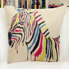 Vintage Linen Cotton Couch Sofa Cushion Cover Throw Pillow Case -Zebra 45X 45 cm