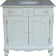 Antique White Mahogany Bathroom Vanity Sink Unit Marble Top Made To Order BE842