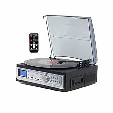 TechPlay 3 Speed Stereo Turntable AMFM Radio Cassette USB/SD MP3 Encoding Remote