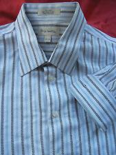 JOHN NORDSTROM mens 17.5 x 33 stripe DRESS SHIRT pointed collar FRENCH Cuff