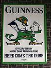 Guinness Beer Notre Dame Fighting Irish Football Embossed Tin Sign Brand New 21