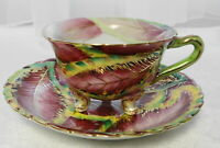 Vintage CHUBU CHINA Occupied/Occ Japan HAND PAINTED PINK LEAF Demi CUP & SAUCER