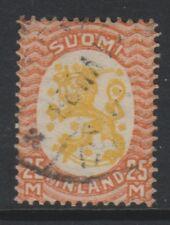 Finland - 1927, 25m Yellow & Vermilion stamp - Wmk Swastika - G/U - SG 244