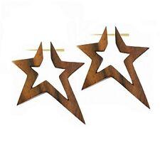 1 Paar geschnitzte Organic Holz Schmuck Ohrringe Ohrhänger Stern Star Braun