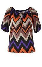 Stretch Shirt lila schwarz bedruckt locker und leger S M L XL XXL Bluse neu 021
