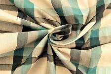 A22a blaugrün & hell beige kariert HUGO BOSS SUPER FEIN Hemdenstoff Baumwolle