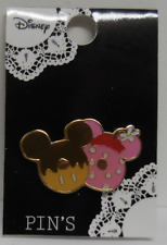 Disney Pin Japan Tdl Heart Art Collection Mickey and Minnie Doughnuts New