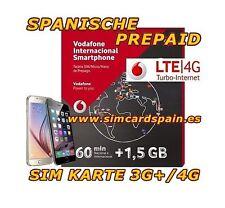 SPANISCHE PREPAID VODAFONE INTERNATIONALE DATEN SIM KARTE 4G INTERNET SPANIEN