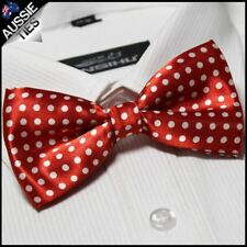 Bright Red with White Polka Dots Bow Tie Men's Bowtie