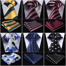 "Mens Tie Striped 3.4""Silk Fashion Extra Long Necktie XL Ties Handkerchief Set Q7"
