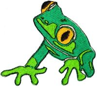 Iron On Embroidered Applique Patch Large Multicolored TreeFrog Light Lime Green