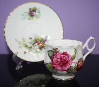 Vintage Bone China Cup & Saucer ~ Floral Roses ~ Gold Trim ~ Royal Dover Pieces