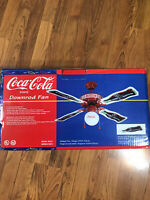 "NEW Coca Cola CEILING FAN 44""  Coke Globe Glass Metal Light Rare Downrod Fan Vtg"