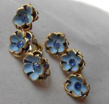 Vintage Czech Czechoslovakia Blue Flower Rhinestone Screwback Earrings