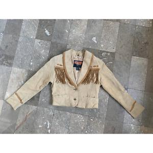 VTG Cripple Creek Suede Leather Fringe Jacket Western Concho Sz M