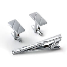 Silver Cuff Links and Tie Clip Set Cufflinks in Gift Bag Formal Business Dress