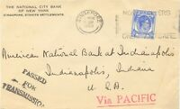 """MALAYA STRAITS SETTLEMENTS 1940 from SINGAPORE red L1 """"Via PACIFIC"""" to USA, rare"""