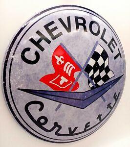 Chevrolet Corvette Round Dome Tin Metal Sign Chevy Corvette  Large Man Cave Sign