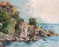 Vintage impressionist oil painting seascape landscape