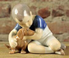 Vintage B&G Boy With Puppy #1951 Porcelain Figurine Nr
