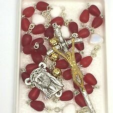 Precious Blood Chaplet Rosary Frosted Red Teardrop Glass Beads Papal Crucifix