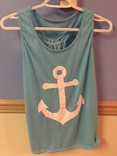Juniors Aqua Anchor Tank Top Size Xl