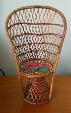 """Vintage Peacock Wicker Chair 13.5"""" High Doll Teddy Plant 70s?"""
