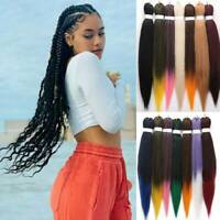 Ombre Colored Pre stretched Braiding Hair Extension Synthetic Box Braids Woman