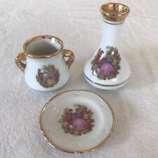 LOT of 3 LIMOGES GOUDEVILLE Porcelain Miniatures FRAGONARD Plate Vase Urn FRANCE