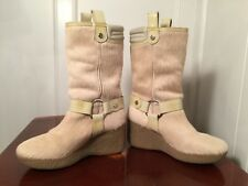 COLE HAAN Women's Size 8 Beige/White Pony Hair Shearling Fur Lined Wedge Boots