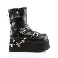 "Demonia 3.5"" Platform Vegan Chains & Buckles Black Ankle Boots Punk Goth 6-12"