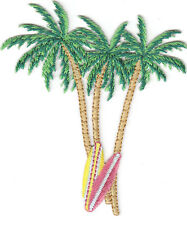 PALM TREES & SURFBOARDS/Iron On Embroidered Applique Patch/Beach,Tropical,Surfer