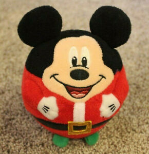 "Mickey Mouse Santa Claus Plush Ball Kids Toy 5.5"" Christmas Holiday 2013"