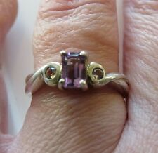 Beautiful 925 Silver Amethyst Ring with CZ accents  Size O Full Hallmarks