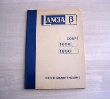 Lancia Beta Coupé 1600 1800 Libretto Uso e Manutenzione 1974 Ia ediz. Italiano