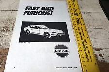 1976 DATSUN 260Z   Australian  Sales Advert