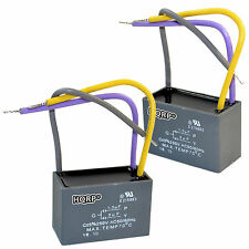 2-Pack HQRP Motor Capacitor for Hampton Bay Ceiling Fan 1.5uF+3uF 3-Wire CBB61