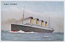 1912 PT NPU POSTCARD WHITE STAR LINER RMS TITANIC AT SEA PUB BY J.SALMON UK O70.