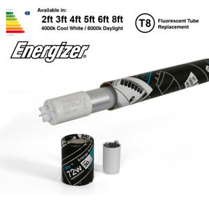 LED T8 Fluorescent Tube Replacement Energizer 2ft 4ft 5ft 6ft Comes With Starter