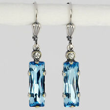 Grevenkämper Earring Dangle Silver Swarovski Crystal Baguette – Aquamarine blue
