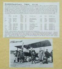 Harold Beamish WW I Ace 11 Victories Royal Naval Air Service Signed Photograph