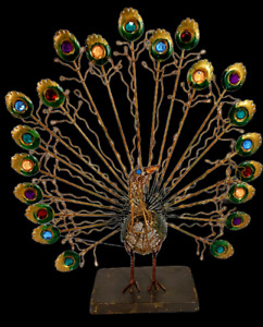 Pier 1 Imports Metal Wire Sculpture Eclectic Peacock With Gems