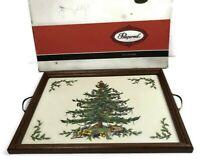 Spode Christmas Tree Pimpernel Hostess Tray Wood Frame Brass Handles Cork Back